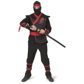 Ninja Kostüm in schwarz - gold mit Drachenverzierung