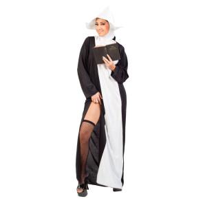 Frau im Nonnenkostüm lang zeigt Bein mit Netzstrumphose