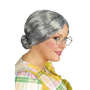 Oma Perücke mit Dutt und Mittelscheitel - graue Haare