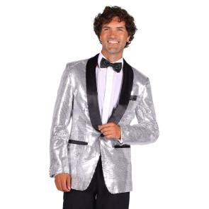 Glitzer Jacket silber - schwarz abgesetzt