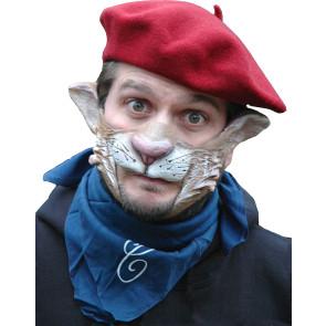 Partymaske 100% Naturlatex, gut anliegend mit Katzen Gesicht. Mund bleibt frei