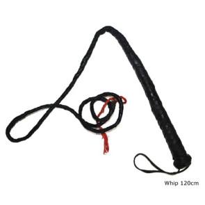 Schwarze Peitsche 120cm mit Griff