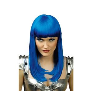 Langhaar Perücke blau glatt Damen