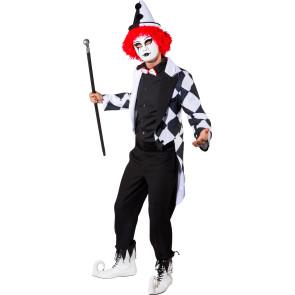 schwarz weiß Checker Pierrot Jacke