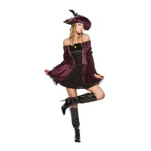 Piratinkostüm für Mädchen mit Hut. Gr. 34 bis 38