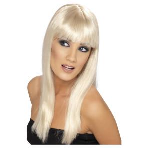 Ponyfrisur Perücke lange blonde Haare