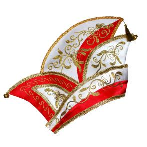 Elfenrat und Prinzen Mütze rot weiß gold