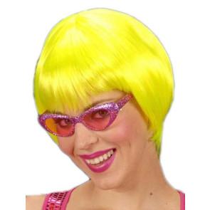 Disco 80er Perücke kurz neon gelb