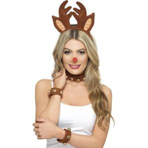 Lustige Kombination Rentier: Haarreif mit Hörner, Armbänder, Halsband mit Glocken
