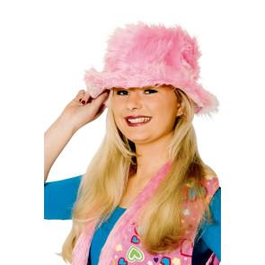 Rosa Plüschhut Damen Plüsch pink Hut