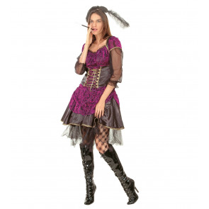 Kostüm Saloon Frau in lila barun mit Kopfschmuck