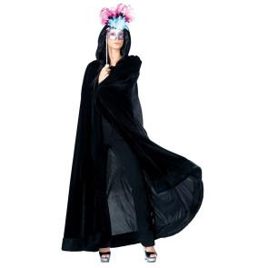 Schwarzer Umhang aus Samt in schwarz mit Kapuze
