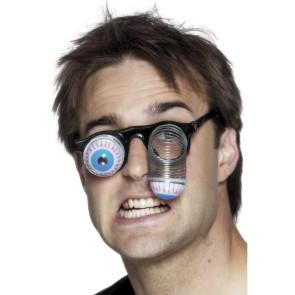 Junger Typ mit lustiger Brille mit Augen und Springfeder