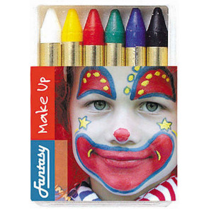 Karneval Schminkstifte 6 Farben, weiß, gelb, rot, grün, blau, schwarz