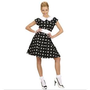 50ziger Kleid in schwarz mit weißen Punkten