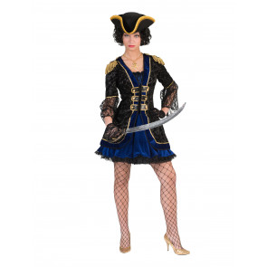 Kostüm Piratin schwarz - gold mit Hut günstig Gr. 40/42