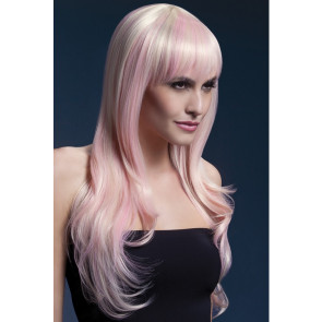 Extravante Perücke blond - rosa strähnen