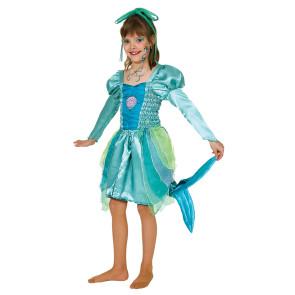 Knielanges Meerjungfrau Kleid für Kinder in Aqua Farben