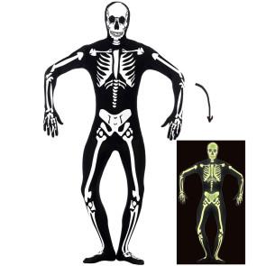 Mann im schwarzen Skelett Morphsuit front