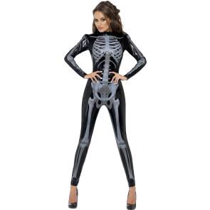 Skelett Cat Suit Einteilier mit Knochen Aufdruck 3D