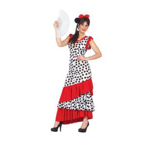 Flamencokleid günstig in zwei Größen. Weiss mit schwarzen Punkten und roten Rüschen