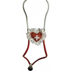 Stethoskop mit Herz in rot weiß