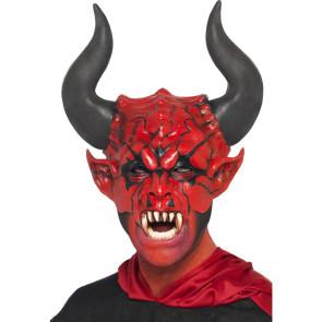 Maske Höllenfürst mit Hörnern passen zum Kostüm Höllenfürst