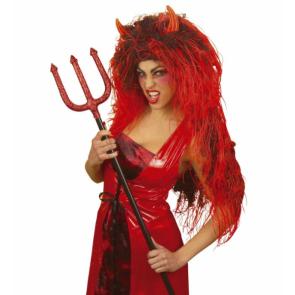 Teufelsperücke mit Hörnern extra lang für Damen