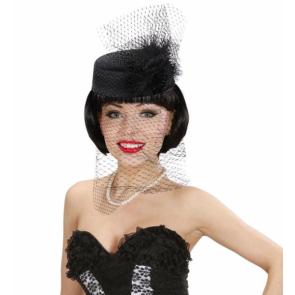Damenhut in schwarz mit Schleier für Lady Kostüme