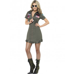 Top Gun Kleid Damen dunkelgrün Uniform Fliegerkombi Top Gun