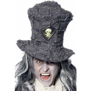 Totengräber Zylinder Hut in grau für Grusel Kostüm