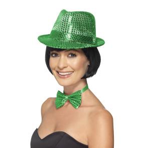 Hut mit Pailletten grün