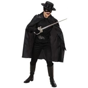Mann in Zorro Kostüm mit schwarzem Umhang 100cm