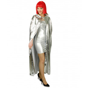 Silberner Umhang 135cm lang Space Umhang silber Damen