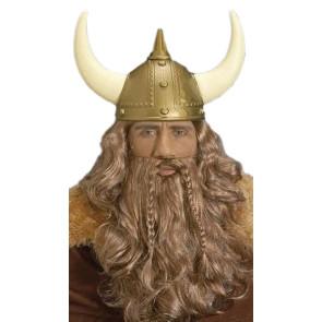 Mann mit blonder Wikinger Perücke, Helm und Bart