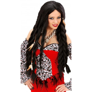 Frau mit Totenkopfkleid und Vodoo Halloween Perücke