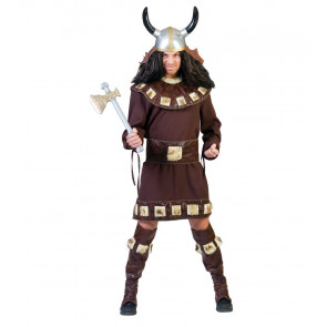 Mann im Wikinger Kostüm verkleidet mit Spielzeug Axt und Hörnerhelm