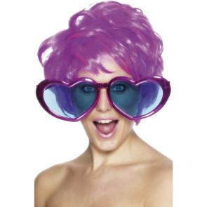 XXL Brille mit Herzen in violett