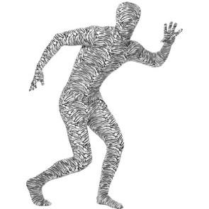 Zebra Kostüm Ganzköper Anzug als zweite Haut.