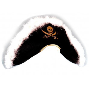 Piraten Seeräuber Hut mit Federn und Totenkopf