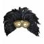 Federnmaske Halbmaske golden mit Federschmuck