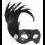Schwarze Maske mit Pailletten, Brosche und Federn