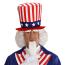 Perücke Uncle Sam weiße Haare mit Bart und Augenbrauen