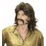 Frisur Perücke der Siebziger Jahre für Herren mit Oberlippen Bart