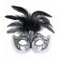 Venezia Maske mit Federn schwarz und silber