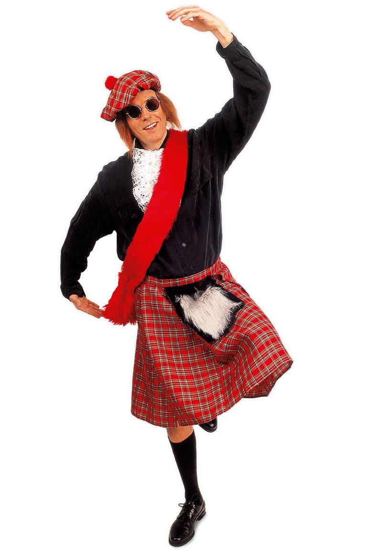 Karneval Klamotten Kostüm Schottenrock rot kariert Herr Karneval Herrenkostüm