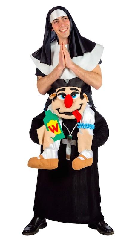 Nonne Huckepack auf Priester Carry me Kostüm